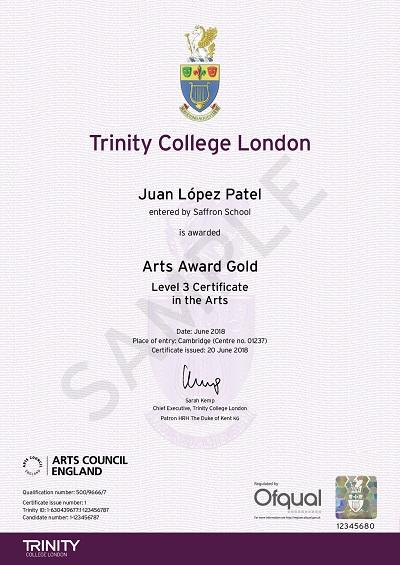 certificates arts award